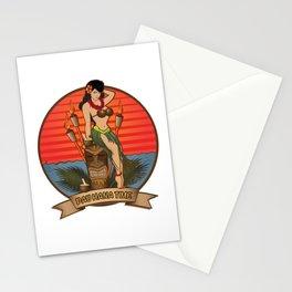 Beautiful Hula Girl Pau Hana Time with Tiki Stationery Cards