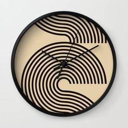 70s Style Retro Mid Century Modern Art Abstract Minimalist Geometrical Neutral Earthy Tones  Wall Clock