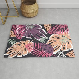 Summer Party Abstract Tropical Leaves Rug