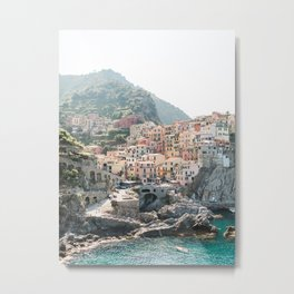 Pastel Houses in Cinque Terre, Manarola Town | Italy Fine Art Travel Print | Amalfi Coast, Italy Metal Print