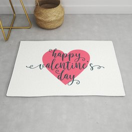 Simple and Lovely Happy Valentine's Day Calligraphy Rug