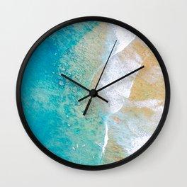 Aerial Hawaii surf reef sand and ocean waves Wall Clock