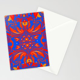 Neo Boho Rococo Baroque Floral Elegant Print Stationery Cards