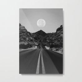 Road Moon BW Metal Print