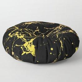 24-Karat Polished Gold Streaks on Black Marble Floor Pillow