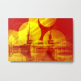 The Oberbaum Bridge  Berlin Collage Metal Print