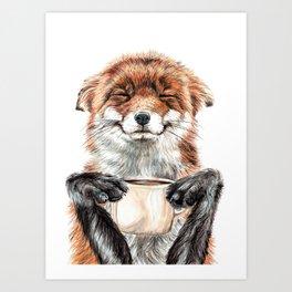 """ Morning fox "" Red fox with her morning coffee Kunstdrucke"