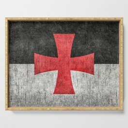 Knights Templar Symbol in grungy textures Serving Tray