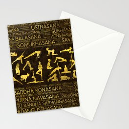 Gold Yoga Asanas / Poses Sanskrit Word Art Stationery Cards