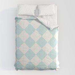 Large Diamonds - White and Light Cyan Comforters