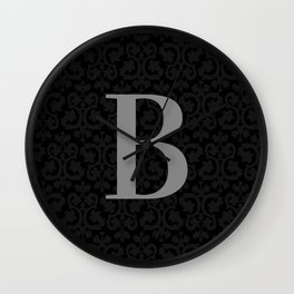 Modern Black Grey Damask Letter B Monogram Wall Clock