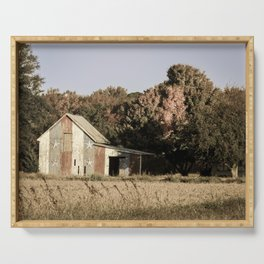 Patriotic Barn in Field Aged Effect Rural / Rustic Landscape Photo Serving Tray