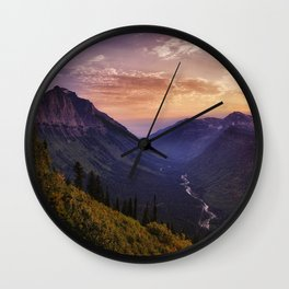 Photo USA Glacier National Park Nature Mountains park forest Sunrises and sunsets landscape photography Rivers mountain Parks Forests Scenery sunrise and sunset river Wall Clock