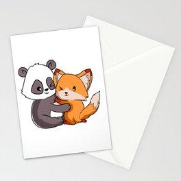 Fox Panda Forest Wild Life Animal Hug Cuddle Love Friendship Buddy Design T--shirt Design  Stationery Cards