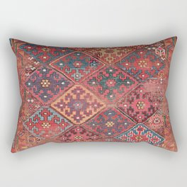 Rosette Diamond Stars II // 19th Century Colorful Red Black Dusty Blue Space Ornate Accent Pattern Rectangular Pillow