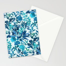 Garden Leaves in Aqua, Turquoise and Cobalt Blue Stationery Cards
