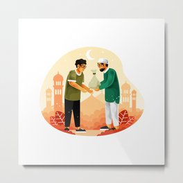 Muslims Give Alms Zakat Month Ramadan Metal Print