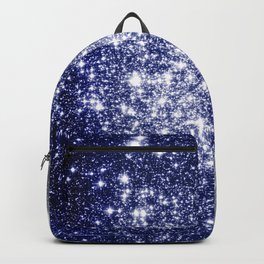 Deep Blue Silver Gray Galaxy Sparkle Ombre Backpack