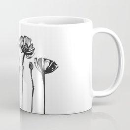 Meadow Wild Poppy Flowers Bouquet, minimalist, ink drawing, watercolour, brush, wall art, gift, Bw, rustic, farmhouse, hand drawn Coffee Mug
