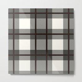 Plaid White And Brown Lumberjack Flannel Metal Print