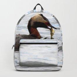 Watercolor Bird, Horned Grebe 04, Lake Myvatn, Iceland Backpack