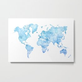 Light blue watercolor world map Metal Print