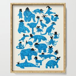 Blue Animals Black Hats Serving Tray