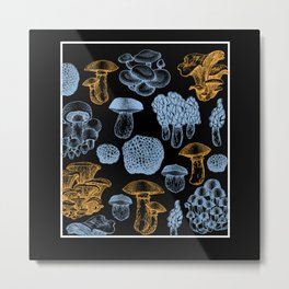 Types Of Mushrooms Mushroom Collecting Fungi Metal Print