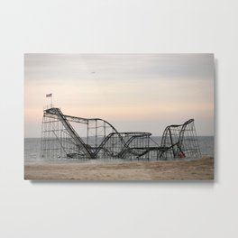 Jet Star Roller Coaster in Ocean After Hurricane Sandy Metal Print