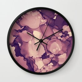Blush Rose gold Purple Decorative Abstract painting -9, Colour Symphony watercolor abstraction, Wall Clock