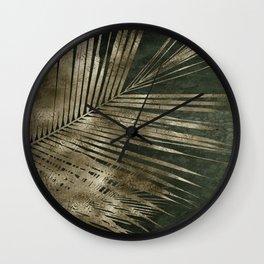 Golden green palm leaves pattern Wall Clock