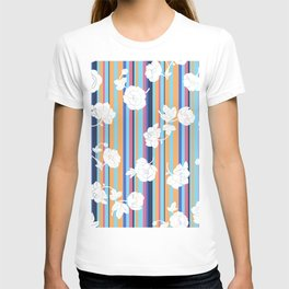Flowers and a multicolored stripe T-shirt