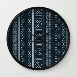 mud cloth indigo Wall Clock