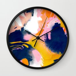 Deep Dream, Abstract Modern Painting, Eclectic Colorful Pop of Color Graphic Design Wall Clock