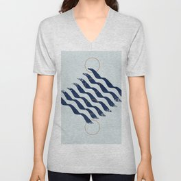 Blue waves and circles Unisex V-Neck