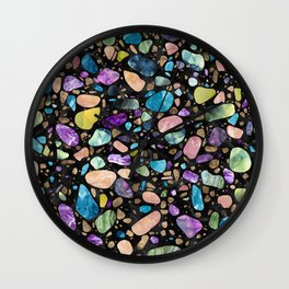 Terrazzo - Gemstones and Gold - Black Marble Wall Clock