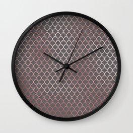 Rose Gold & Dark Gray Quatrefoil Wall Clock