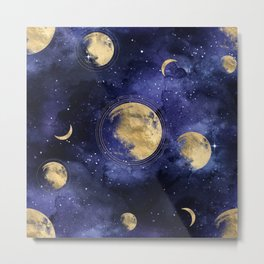 moon and galaxy pattern  Metal Print