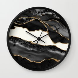 In the Mood Black and Gold Agate Wall Clock