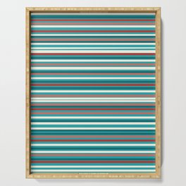 Joseph Stripes - Fine Stripe Pattern in Red, Cream, and Turquoise Serving Tray