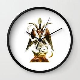 Golden Baphomet Goat with Satanic symbols Wall Clock