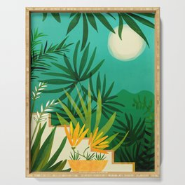 Exotic Garden Nightscape / Tropical Night Series #2 Serving Tray
