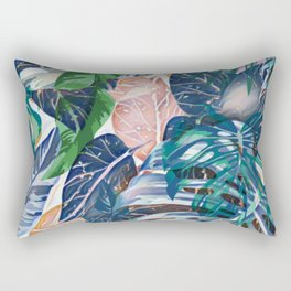 Tropical forest blue pink green beige tropical leaves Rectangular Pillow