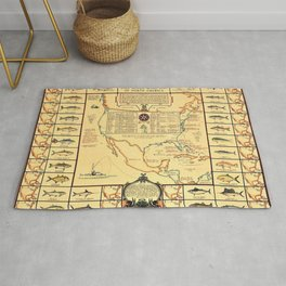 Illustrated Map of Well Known Salt Water Game Fish of North America Rug