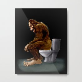 Bigfoot breaks into some Dude's Cabin and Totally takes a fat Dump in his toilet Metal Print