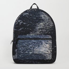 Ocean Waters on Black Sand Beach Fine Art Photo Backpack