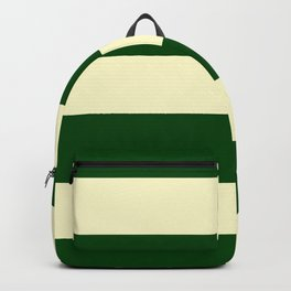 Dark Emerald Green and Cream Large Stripes Backpack