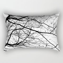 FOLIAGE SERIES Minimal branches in black and white Rectangular Pillow