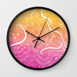 Fuchsia & Orange Swirly Floral Dream Wall Clock