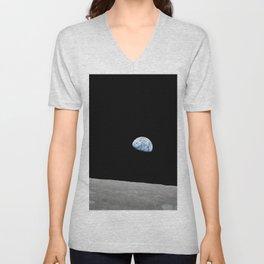 Apollo 8 - Iconic Earthrise Photograph Unisex V-Neck